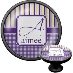 Purple Gingham & Stripe Cabinet Knob (Black) (Personalized)