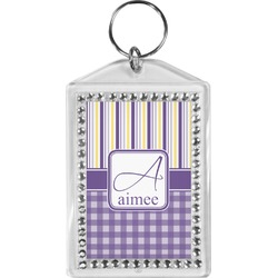 Purple Gingham & Stripe Bling Keychain (Personalized)