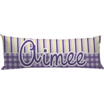 Purple Gingham & Stripe Body Pillow Case (Personalized)