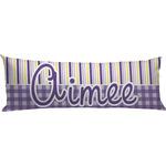 Purple Gingham & Stripe Body Pillow Case (Personalized)
