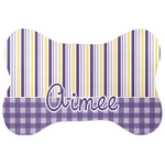Purple Gingham & Stripe Bone Shaped Dog Food Mat (Personalized)