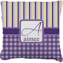 """Purple Gingham & Stripe Faux-Linen Throw Pillow 26"""" (Personalized)"""