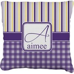 Purple Gingham & Stripe Faux-Linen Throw Pillow (Personalized)