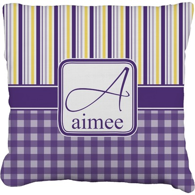Purple Gingham & Stripe Burlap Pillow Case (Personalized)