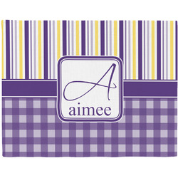 Purple Gingham & Stripe Woven Fabric Placemat - Twill w/ Name and Initial