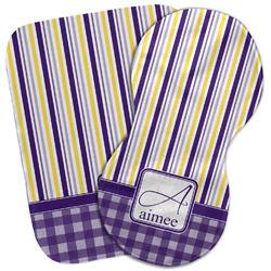 Purple Gingham & Stripe Burp Cloth (Personalized)