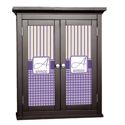 Purple Gingham & Stripe Cabinet Decal - Large (Personalized)