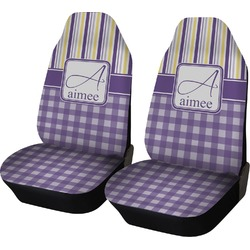 Purple Gingham & Stripe Car Seat Covers (Set of Two) (Personalized)