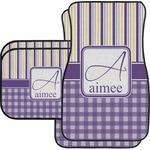 Purple Gingham & Stripe Car Floor Mats (Personalized)