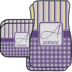 Purple Gingham & Stripe Car Floor Mats (Personalized)