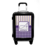 Purple Gingham & Stripe Carry On Hard Shell Suitcase (Personalized)