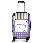 Purple Gingham & Stripe Suitcase (Personalized)