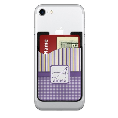 Purple Gingham & Stripe 2-in-1 Cell Phone Credit Card Holder & Screen Cleaner (Personalized)