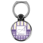 Purple Gingham & Stripe Cell Phone Ring Stand & Holder (Personalized)