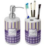 Purple Gingham & Stripe Ceramic Bathroom Accessories Set (Personalized)