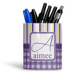 Purple Gingham & Stripe Ceramic Pen Holder