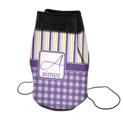Purple Gingham & Stripe Neoprene Drawstring Backpack (Personalized)