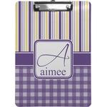 Purple Gingham & Stripe Clipboard (Personalized)