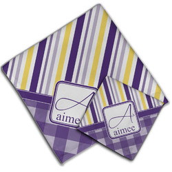 Purple Gingham & Stripe Cloth Napkin w/ Name and Initial