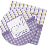 Purple Gingham & Stripe Rubber Backed Coaster (Personalized)