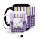 Purple Gingham & Stripe Coffee Mugs (Personalized)