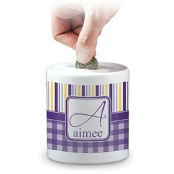 Purple Gingham & Stripe Coin Bank (Personalized)