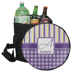 Purple Gingham & Stripe Collapsible Cooler & Seat (Personalized)