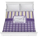 Purple Gingham & Stripe Comforter (Personalized)
