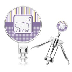 Purple Gingham & Stripe Corkscrew (Personalized)