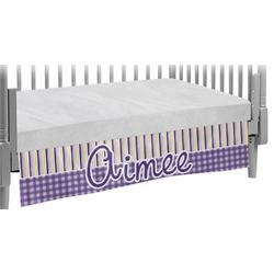 Purple Gingham & Stripe Crib Skirt (Personalized)