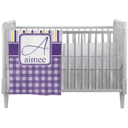 Purple Gingham & Stripe Crib Comforter / Quilt (Personalized)