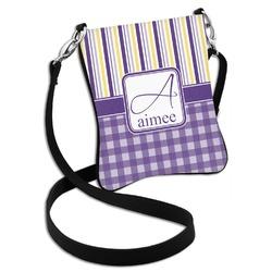 Purple Gingham & Stripe Cross Body Bag - 2 Sizes (Personalized)