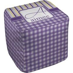 Purple Gingham & Stripe Cube Pouf Ottoman (Personalized)