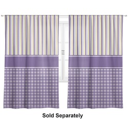 "Purple Gingham & Stripe Curtains - 40""x63"" Panels - Lined (2 Panels Per Set) (Personalized)"