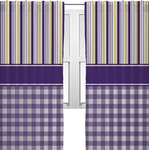 Purple Gingham & Stripe Curtains (2 Panels Per Set) (Personalized)
