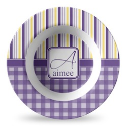 Purple Gingham & Stripe Plastic Bowl - Microwave Safe - Composite Polymer (Personalized)