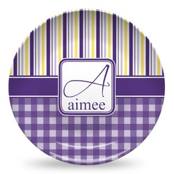 Purple Gingham & Stripe Microwave Safe Plastic Plate - Composite Polymer (Personalized)