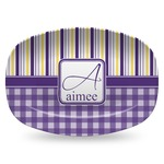 Purple Gingham & Stripe Plastic Platter - Microwave & Oven Safe Composite Polymer (Personalized)