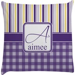 Purple Gingham & Stripe Decorative Pillow Case (Personalized)
