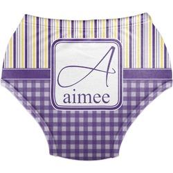 Purple Gingham & Stripe Diaper Cover (Personalized)