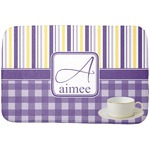 Purple Gingham & Stripe Dish Drying Mat (Personalized)
