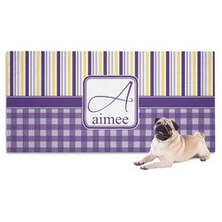 Purple Gingham & Stripe Dog Towel (Personalized)