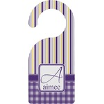Purple Gingham & Stripe Door Hanger (Personalized)