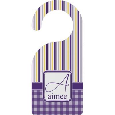 Purple Gingham & Stripe Door Hanger (Personalized)