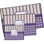 Purple Gingham & Stripe Door Mat (Personalized)