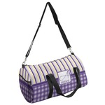 Purple Gingham & Stripe Duffel Bag (Personalized)