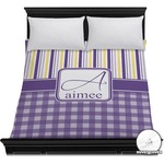 Purple Gingham & Stripe Duvet Cover (Personalized)