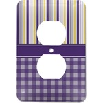 Purple Gingham & Stripe Electric Outlet Plate (Personalized)