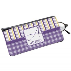 Purple Gingham & Stripe Genuine Leather Eyeglass Case (Personalized)