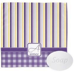 Purple Gingham & Stripe Washcloth (Personalized)